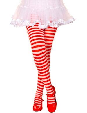 Striped Girls Costume Tights - Red and White