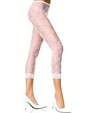 Three Quarter Length White Floral Lace Leggings