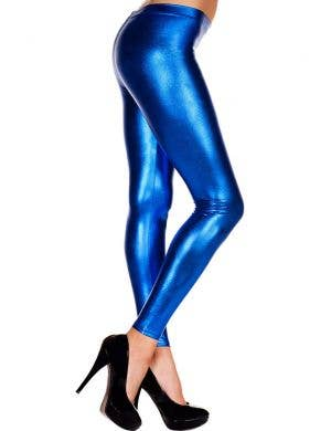Metallic Blue Women's Footless Leggings