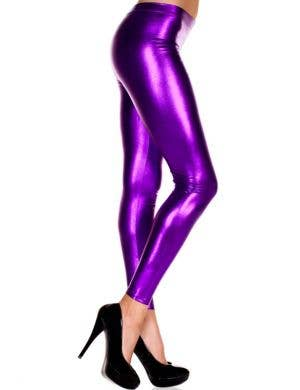 Metallic Purple Women's Footless Leggings