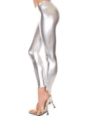 Metallic Silver Space Girl Leggings
