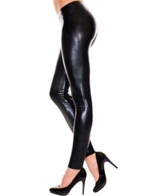 Footless Liquid Look Black Leggings