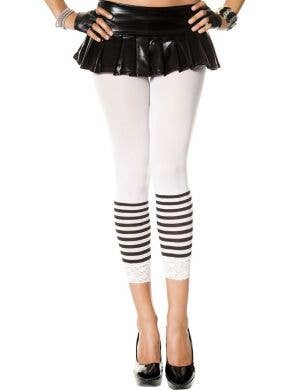 Opaque White Leggings with Lace Trim