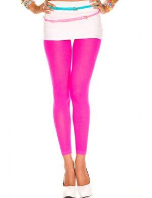 Opaque Footless Tights in Neon Pink