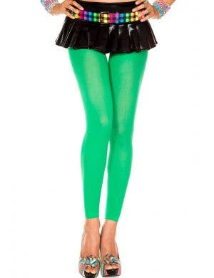 Opaque Footless Tights in Green Costume Accessory