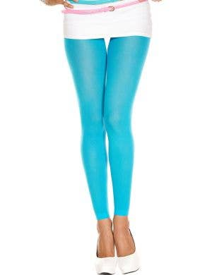 Turquoise Blue Opaque Women's Footless Pantyhose