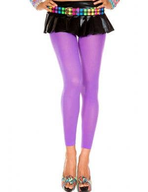 Opaque Footless Tights in Purple