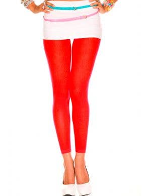 Opaque Footless Tights in Red