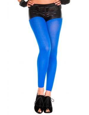 Blue Full Length Opaque Footless Stockings for Women