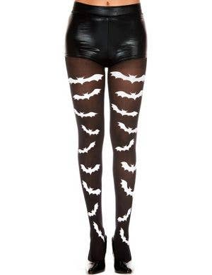 Gothic Bat Print Women's Halloween Stockings