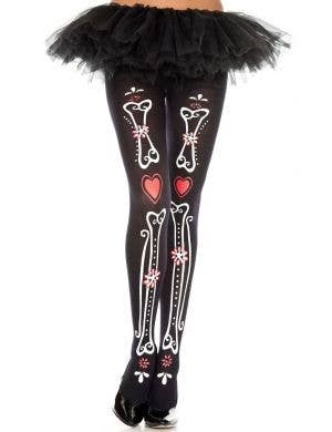 Bone and Heart Print Day of the Dead Stockings