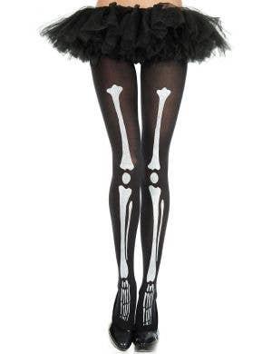 Skeleton Print Women's Halloween Pantyhose