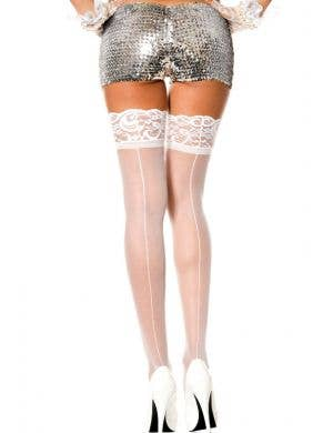 Sheer White Thigh High Stockings With Back Seams