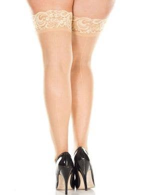 lace Top Sheer Nude Plus Size Thig High Stockings