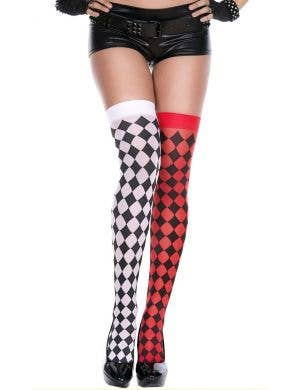 Mismatch Red and Black Harlequin Thigh High Stockings