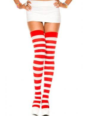 Striped Thigh High Stockings - Red and White