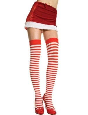Red and White Striped Thigh High Tights