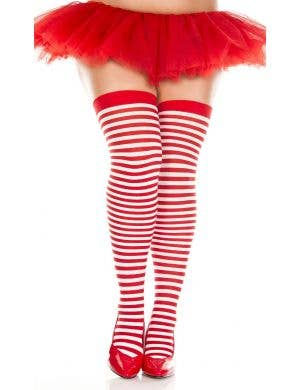 Plus Size Red and White Striped Thigh High Stockings