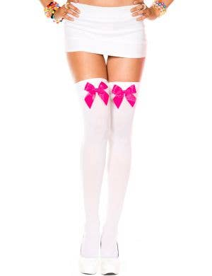 Thigh High Stockings with Bows - White with Hot Pink