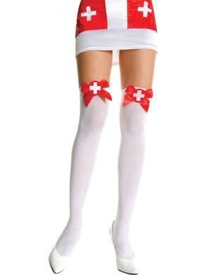 White Opaque Nurse Thigh High Costume Stockings