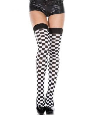 Black & White Checkered Thigh High Stockings