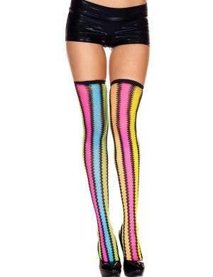 Rainbow Thigh High Colourful Zig Zag Stockings