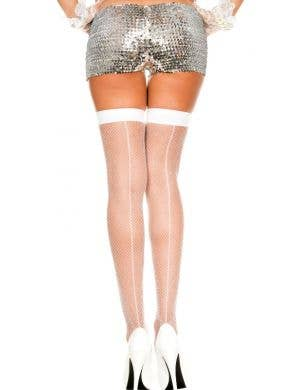 Fishnet Thigh High Stockings with Backseam - White