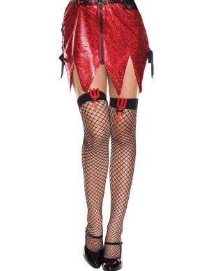 Devil Pitchfork Fishnet Thigh High Stockings