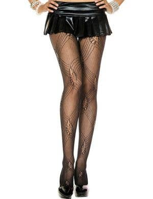 Diamond Lace Pattern Black Pantyhose Front View
