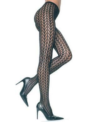 Feather Pattern Black Full Length Stockings