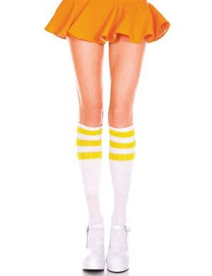 White Knee High Socks with Yellow Stripes Costume Accessory