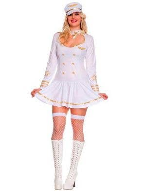 Plus Size Women's Stewardess White Costume Uniform Front