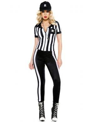 Sexy Black and White Sporting Referee Women's Costume Front