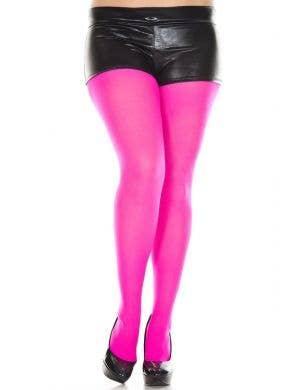 Neon Pink Opaque Women's Plus Size Pantyhose