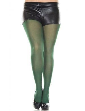 Dark Green Full Length Women's Plus Size Costume Stockings