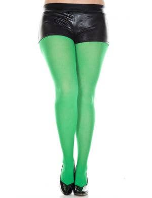 Kelly Green Full Length Women's Plus Size Costume Stockings