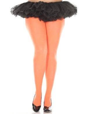 Neon Orange Opaque Women's Plus Size Pantyhose