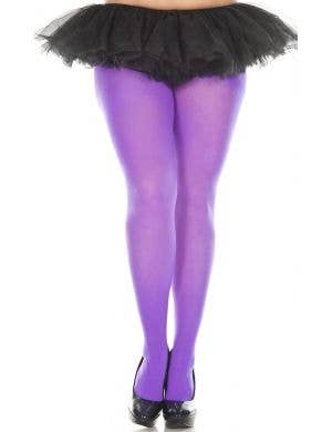 Purple Opaque Women's Plus Size Pantyhose