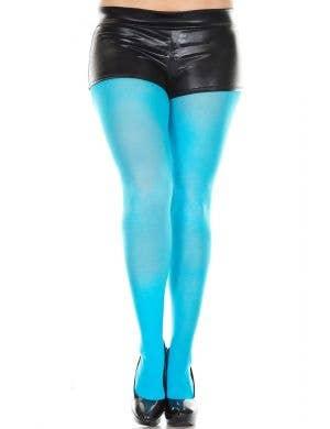 Turquoise Full Length Women's Plus Size Costume Stockings