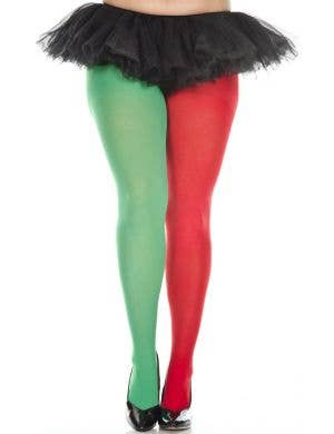 Opaque Women's Plus Size Red And Green Elf Stockings