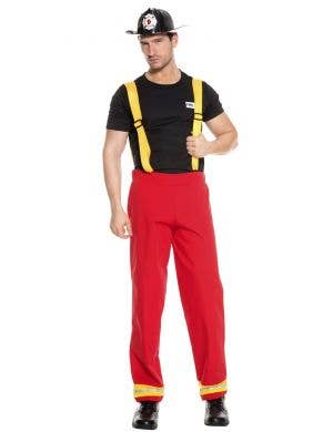 Deluxe Men's Fireman Fancy Dress Costume Front View