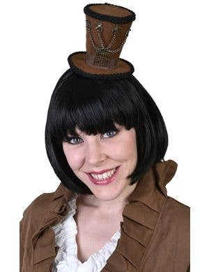 Women's Brown Mini Steam Punk Top Hat on Headband
