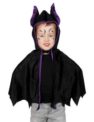 Kids Black and Purple Velvet Halloween Bat Cape