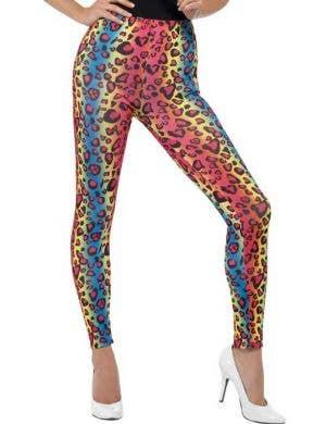 Neon Leopard Print Women's 80's Costume Leggings