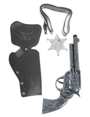 Antique Silver Wild West Cowboy Accessory Kit