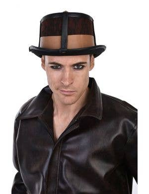 mens leather look brown deluxe steampunk top hat