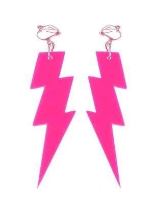 Lightning Bolt 80s Earrings - Neon Pink