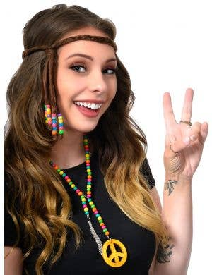 Beaded 70's Hippie Peace Sign Costume Accessory Necklace