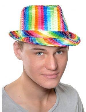 Sequin Rainbow Adult's Satin Fedora Costume Hat