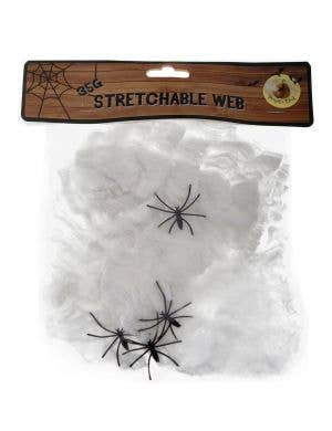 Stretchable White Spider Web with Spiders Halloween Decoration